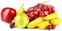 Plátanos, uvas, manzanas, cerezas y una pera