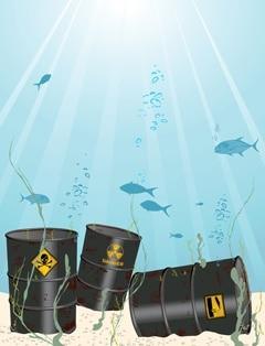 Barriles de sustancias químicas tóxicas en el fondo del océano