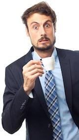 Empresario conectado por demasiado café