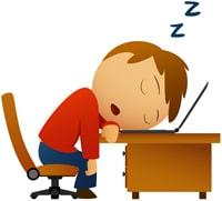 Caricatura de un hombre durmiendo en su escritorio