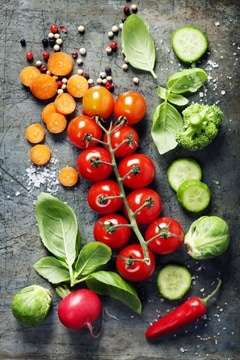 Tomates Cherry, Zanahorias, Rábano, Pimiento y Verduras