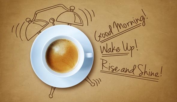 Dibujo de reloj despertador de café