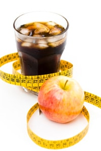 Refresco dietético y manzana