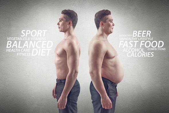 Fit vs Fat Man con texto