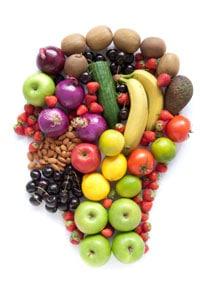 Cabeza de comida sana con frutas y verduras