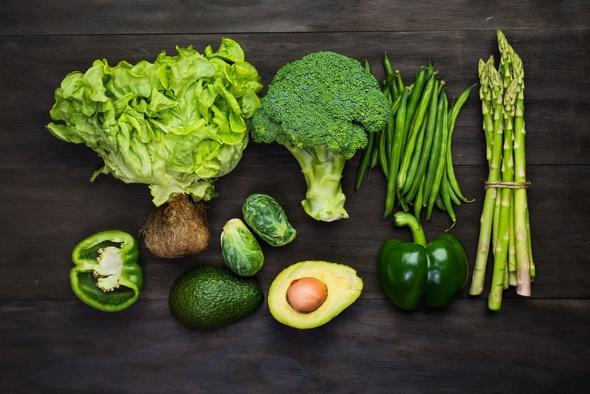 Verduras verdes con alto contenido de fibra