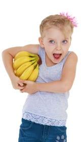Niña, tenencia, plátanos
