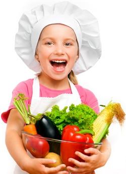 Niña con verduras