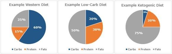 Desglose de macronutrientes en varias dietas