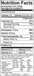 Etiqueta trasera de información nutricional