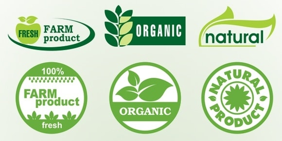 Etiquetas de productos frescos orgánicos naturales y agrícolas