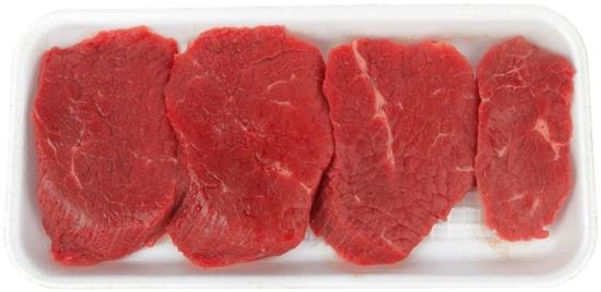 Filetes de bistec crudo en caja