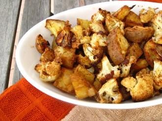 Coliflor picante al horno y batatas